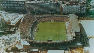 Imagen aérea del estadio de Sarrià.