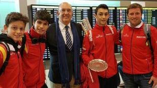 El equipo español, recibido por Miguel Díaz, presidente de la RFET