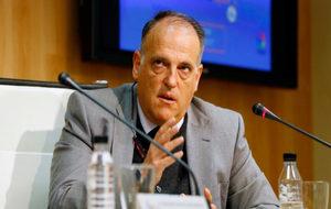 Javier Tebas, presidente de LaLiga, durante una comparecencia