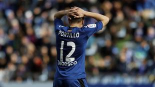 Portillo, durante el partido ante el Mallorca del pasado mes de enero.