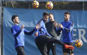 Pipa, Diego Reyes y David López, en una sesión de entrenamiento.