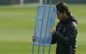 Víctor, durante el entrenamiento de este miércoles.