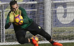 Diego López, durante un entrenamiento.