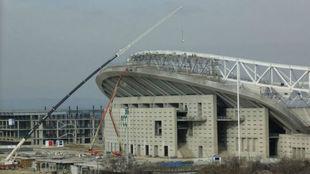 Imagen de las obras de acceso y construcción del Wanda Metropolitano.