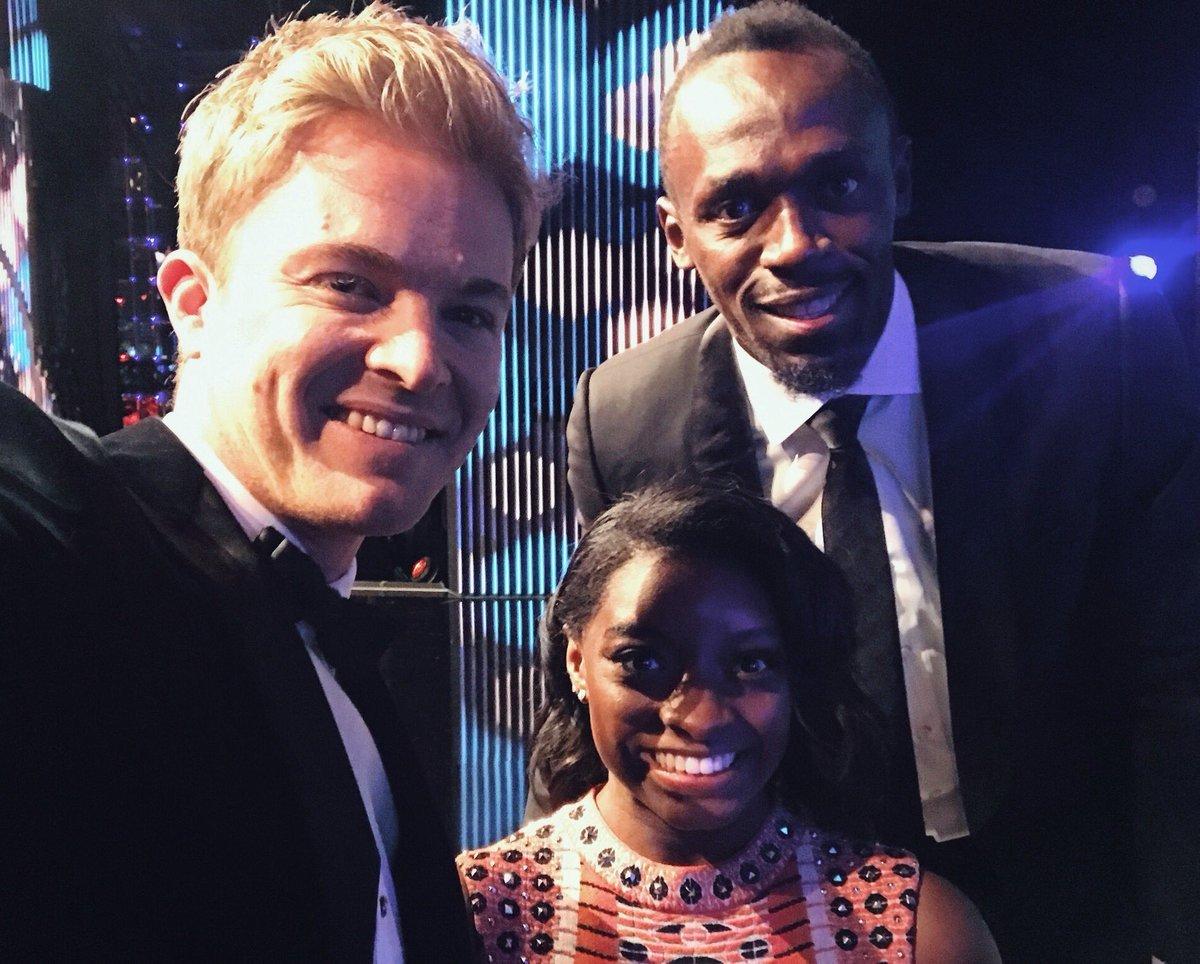 Rosberg con el velocista Usain Bolt y la gimnasta Simone Biles.