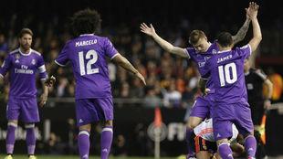 Los jugadores del Real Madrid en Mestalla