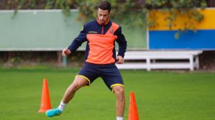 Hernán se ejercita en la instalación deportiva de Barranco Seco
