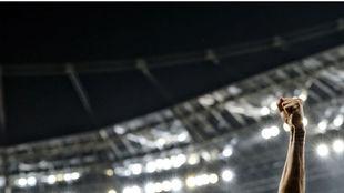 Saúl celebra el gol del pasado martes en Leverkusen.