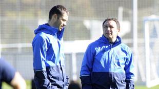 Eusebio junto a Labaka en una sesión de entrenamiento.