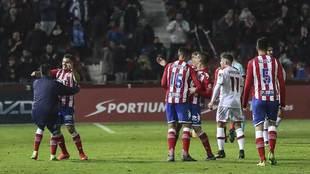Los jugadores del Girona celebran el gol de Juanpe ante el Mallorca