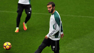 Germán Pezzella, en el entrenamiento de este jueves.