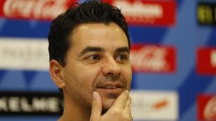 Míchel, durante su presentación como nuevo técnico del Rayo...
