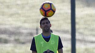 Juanfran, en el entrenamiento del Deportivo