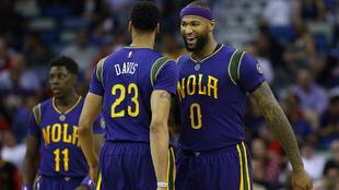 DeMarcus Cousins junto a Anthony Davis en su debut con los Pelicans