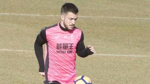 Héctor Hernández durante un entrenamiento.