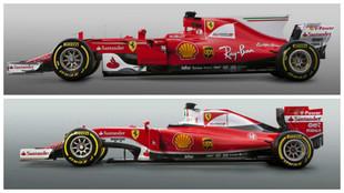 El Ferrari SF70-H (arriba) y el SF16-H de 2016 vistos de perfil.