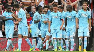 El Granada celebra el tanto que les dio la victoria (0-1) en la...