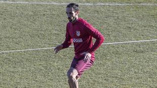 Juanfran, entrenándose.