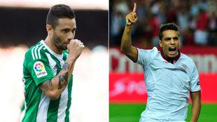 Rubén Castro y Ben Yedder, celebrando goles