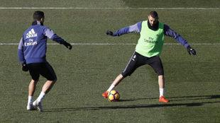 Benzema y Ronaldo, durante el entrenamiento.