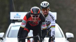 Van Avermaet y Peter Sagan en la Omloop Het Nieuwsblad.