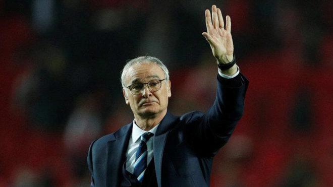 Ranieri en el partido del Leicester contra el Sevilla.
