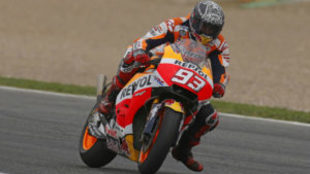 Marc M�rquez, durante los entrenamientos privados de Honda en Jerez.