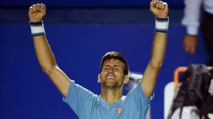 Djokovic, celebrando su triunfo ante Del Potro.