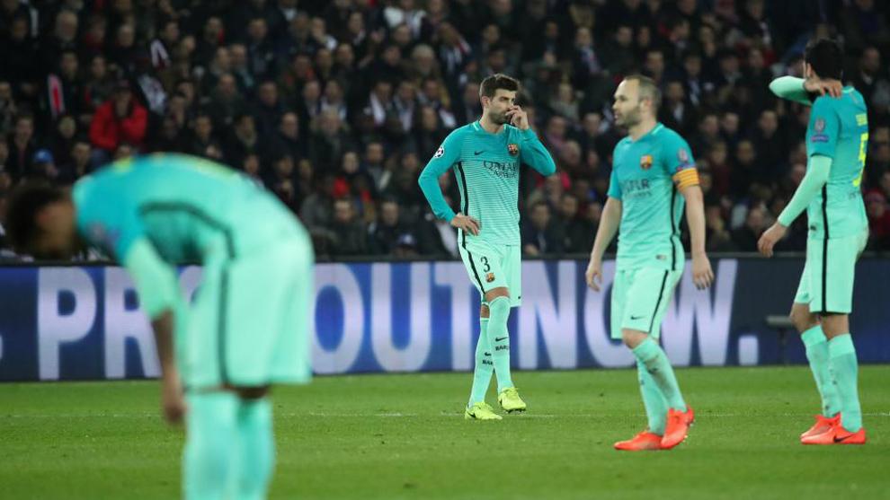 Piqué, Iniesta y Busquets, decaídos durante el partido de ida.
