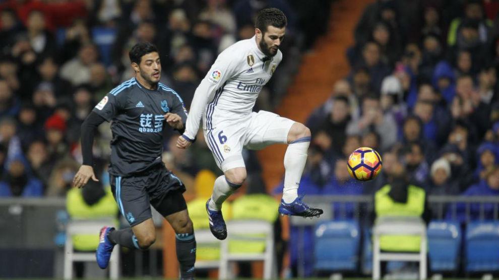 Nacho en el partido de Liga ante la Real Sociedad