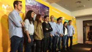 Marc M�rquez, con el equipo de Movistar+ MotoGP.