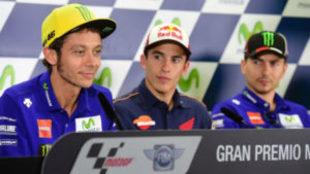 Rossi, M�rquez y Lorenzo, en el GP de Arag�n de 2016.
