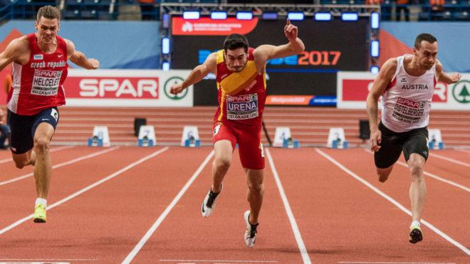 Jorge Ureña, en las series de 60 metros con las que arrancó el...