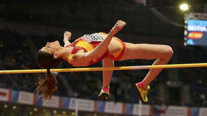 Ruth Beitia, en competición en los Europeos de Belgrado.