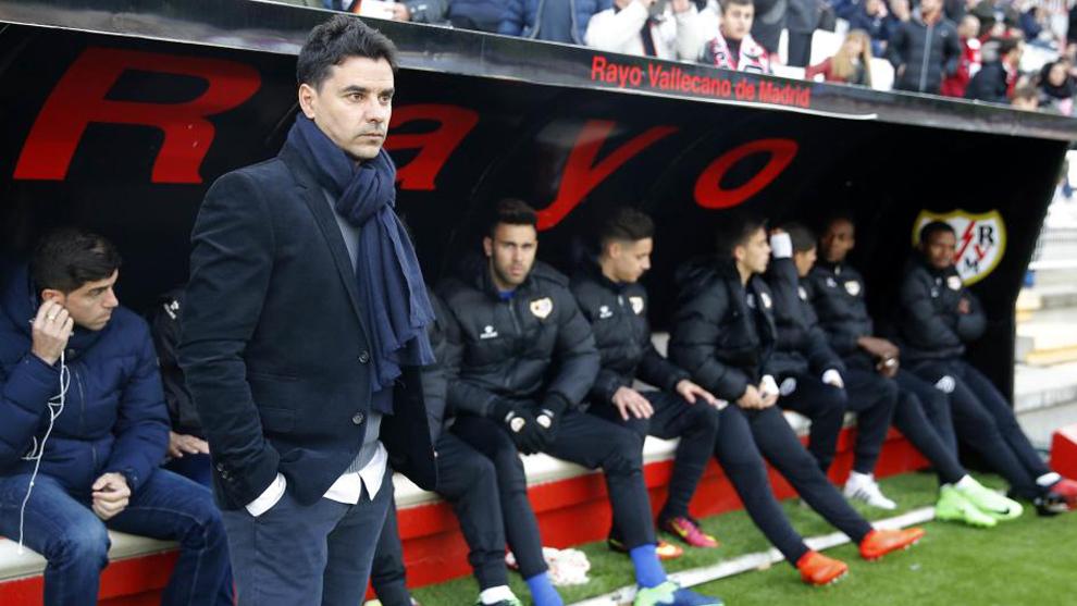 Míchel, en su debut en Vallecas ante el Reus.