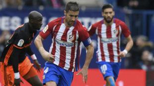 Gabi (33), con la f�rula durante el partido ante el Valencia.