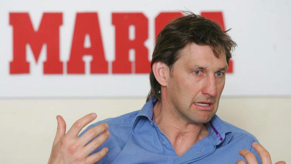 Tony Adams, durante la visita a la redacción de MARCA