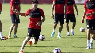 Damiá Sabater, durante un entrenamiento con el Mallorca hace cinco...