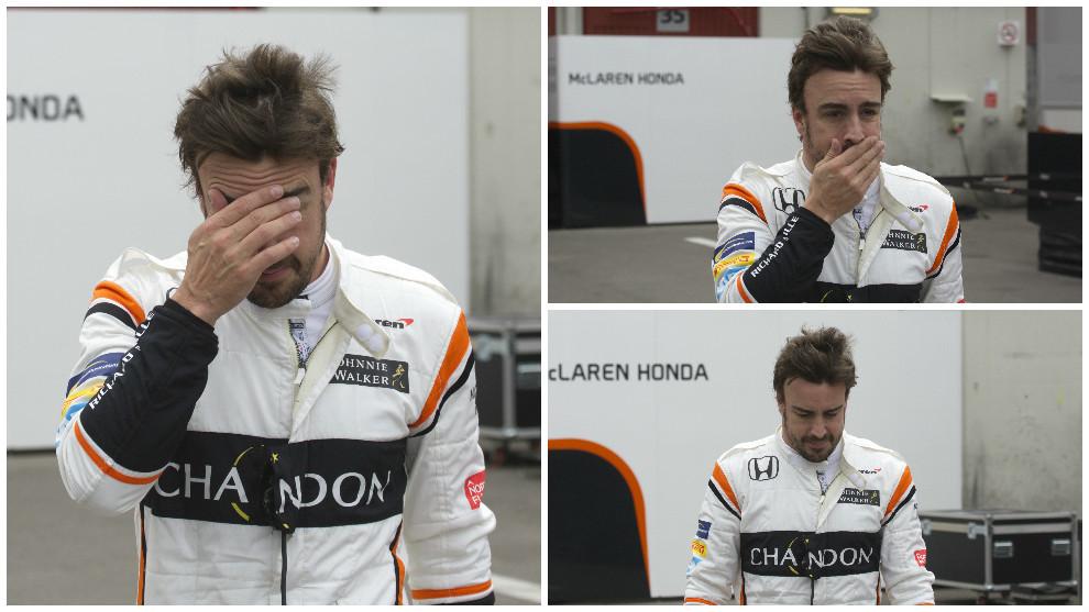 Alonso no pudo ocultar su gesto de preocupación tras una nueva...