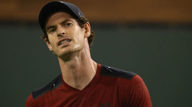 Andy Murray realiza un gesto durante su encuentro en Indian Wells