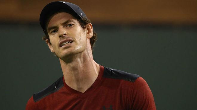 Andy Murray realiza un gesto durante su encuentro en Indian Wells