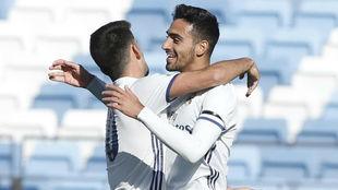 Nikos celebra el gol de la victoria del filial