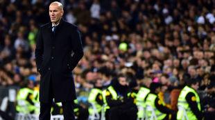 Zidane, durante el partido ante el Betis.
