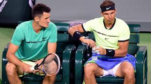 Tomic y Nadal hablan en la silla de cambios
