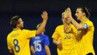Svensson con Ibrahimovic en un partido de la selecci�n de Suecia