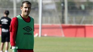 Cabrero en un entrenamiento con el Mallorca.