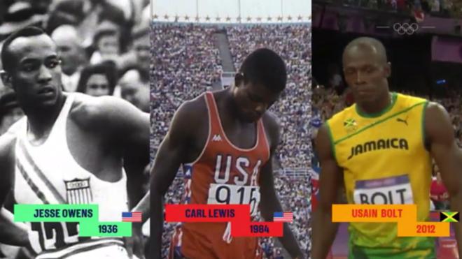 Jesse Owens, Carl Lewis y Usain Bolt, en sus finales olímpicas