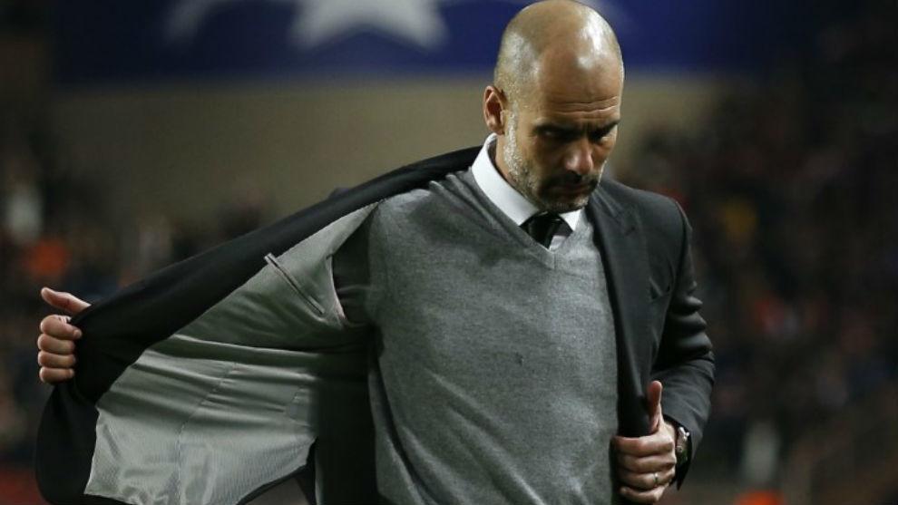 Josep Guardiola en el partido de Champions League contra en Mónaco