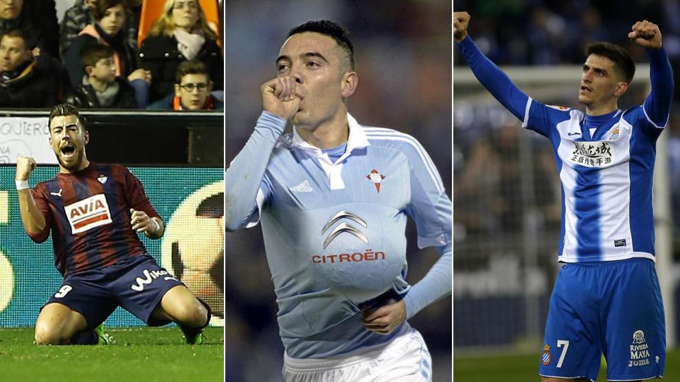 Sergi Enrich, Iago Aspas y Gerard Moreno.