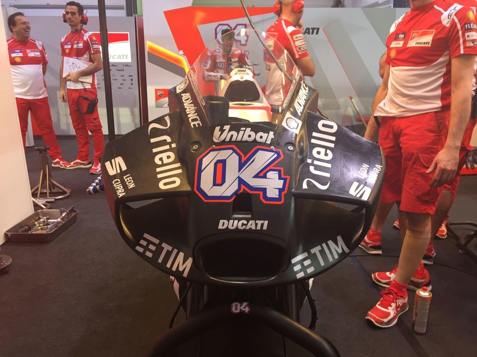 El nuevo carenado de Ducati, en Qatar.